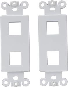 AllSmartLife Wall Plate QuickPort Decora Insert for 2-Port Keystone Jack - White
