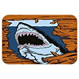 Kisscase Custom Door MatShark Wild Fish Breaking Wooden Plank Danger Sign Killer Creature Fun Illustration Ginger Dark Blue
