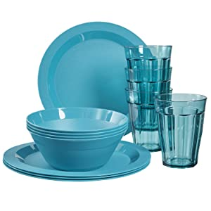 Cambridge Plastic Plate, Bowl and Tumbler Dinnerware | 12-piece set Teal