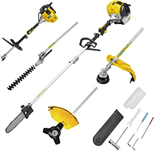MELLCOM 52CC 2 Cycle 4 in 1 Multi Trimming Tools with Gas Hedge Trimmer, Grass Trimmer, Chinsaw Brush Cutter, Gas Pole Saw, Included Extension Pole Garden Tools