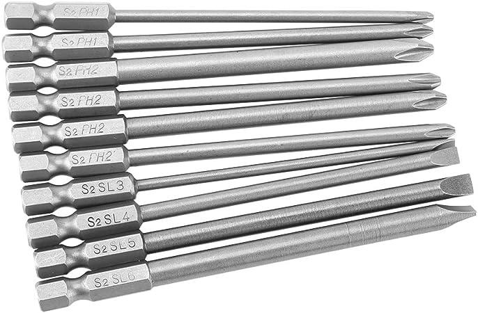 10pcs//set 100mm Alloy Steel S2 Slotted Phillips Screwdriver Bits Batches 3