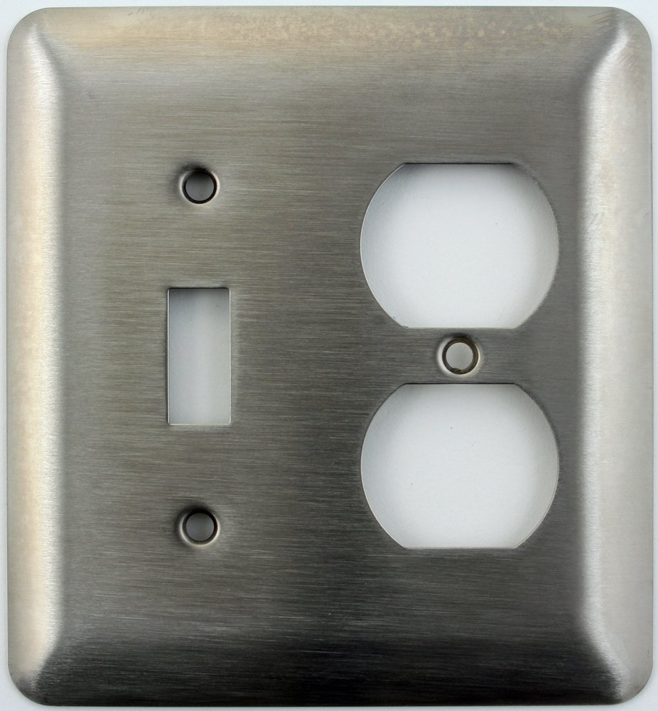 Mulberry Princess Style Satin Stainless Steel Two Gang Switch Plate - One Toggle Light Switch Opening One Duplex Outlet Opening