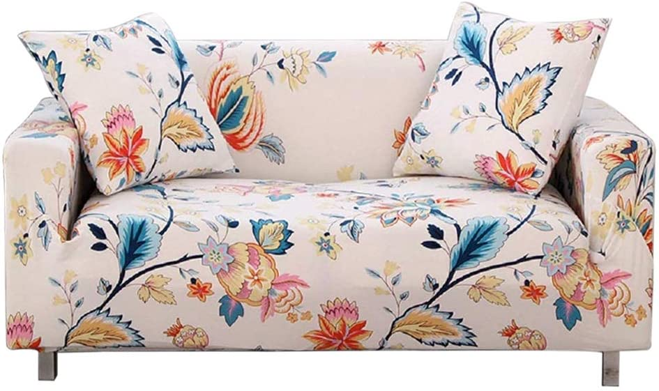 Loveseat, Year FORCHEER Loveseat Cover for Older Leather Slipcover Stretch Printed 2 Cushion Couch Slipcover Furniture Sofa Protector