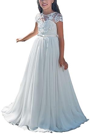 Amazon.com: Carat Lace Chiffon Flower Girl A-line Dress Kids White ...
