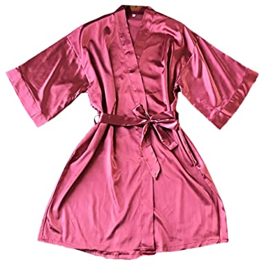 24faffe9250 Amplaue Robe de Chambre pour Femme Robe Kimono Robe de Nuit en Satin Pyjama  Robe de