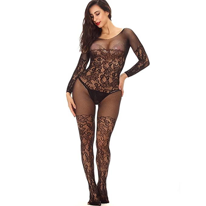 d01be55ce Advoult Black Plus Size Lingerie Fishnet Bodysuit Crotchless Tights Sexy  Nightwear Bodystocking for Women
