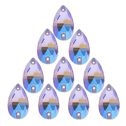 07fd72abea 50Pcs Teardrop Sew on Rhinestones Crystal AB Glass Flatback Rhinestone for  Crafts Clothing Wedding Dress Decoration,11X18mm AB Purple