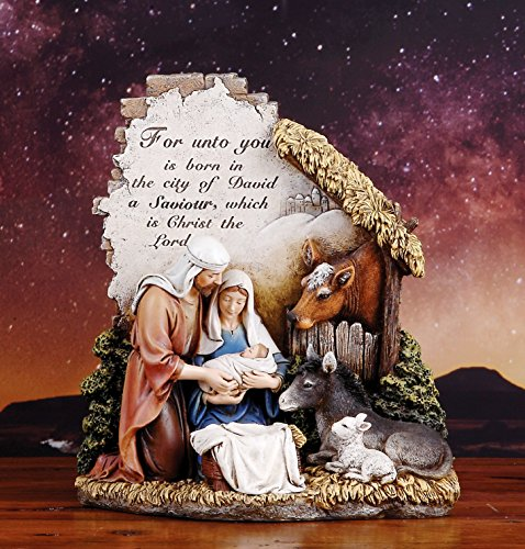 - Unto You a Savior is Born 10 inch Christmas Nativity Scene Sculpture Figurine