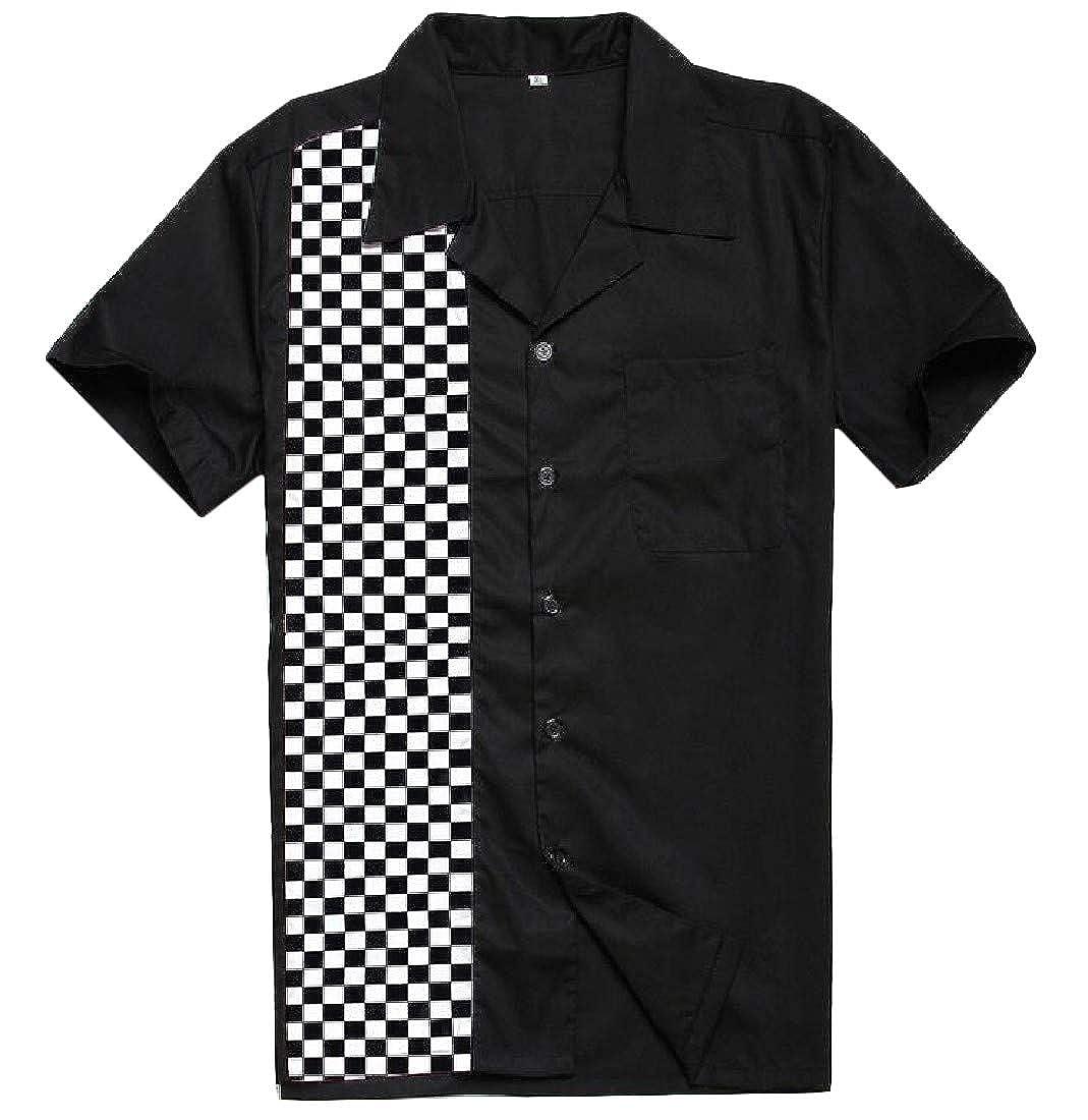 pipigo Men Spliced Casual Contrast Color Checkerboard Button-Down Slim Fit Shirt