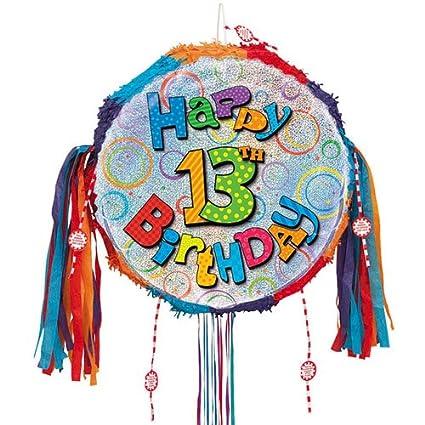 Happy 13th cumpleaños holográfica Tire Cadena Piñata: Amazon ...
