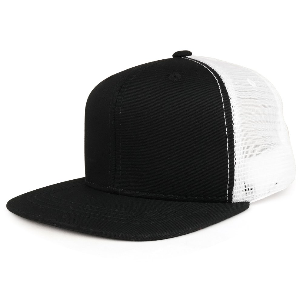 Youth Stylish Flat Bill Structured Mesh Back Snapback Trucker Cap - Black White