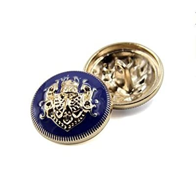 10PCS Clothes Buttons - Fashion Sewing Button Round Shaped Metal Button Set for Men Women Blazer, Coat, Uniform, Shirt, Suit and Jacket (Blue, 15mm): Arts, Crafts & Sewing