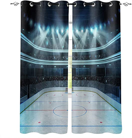 BMALL Grommet Window Curtains Panels Hockey Photo of a Sports Arena Full of People Fans Audience Tournament Championship Match Window Curtain 2 Panels