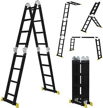 Escalera multifunción CF-104A de Craftfull de aluminio, 6 peldaños en 1-16, 475 cm de longitud total, escalera articulada, escalera multiusos, escalera de escalera, Negro: Amazon.es: Bricolaje y herramientas