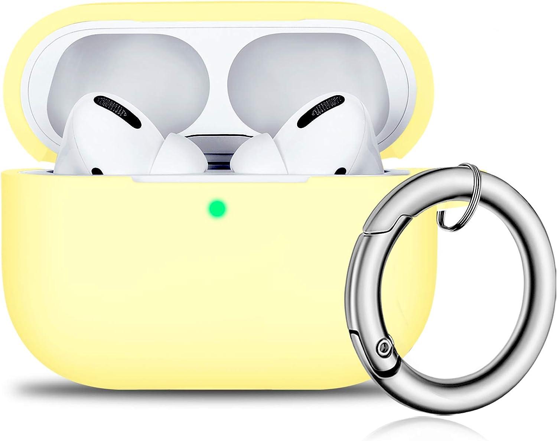 Airpods Pro Hülle Front Led Sichtbar Vollschutz Silikon Skin Cover Für 2019 Apple Neueste Airpods Pro Case Creme Gelb Elektronik