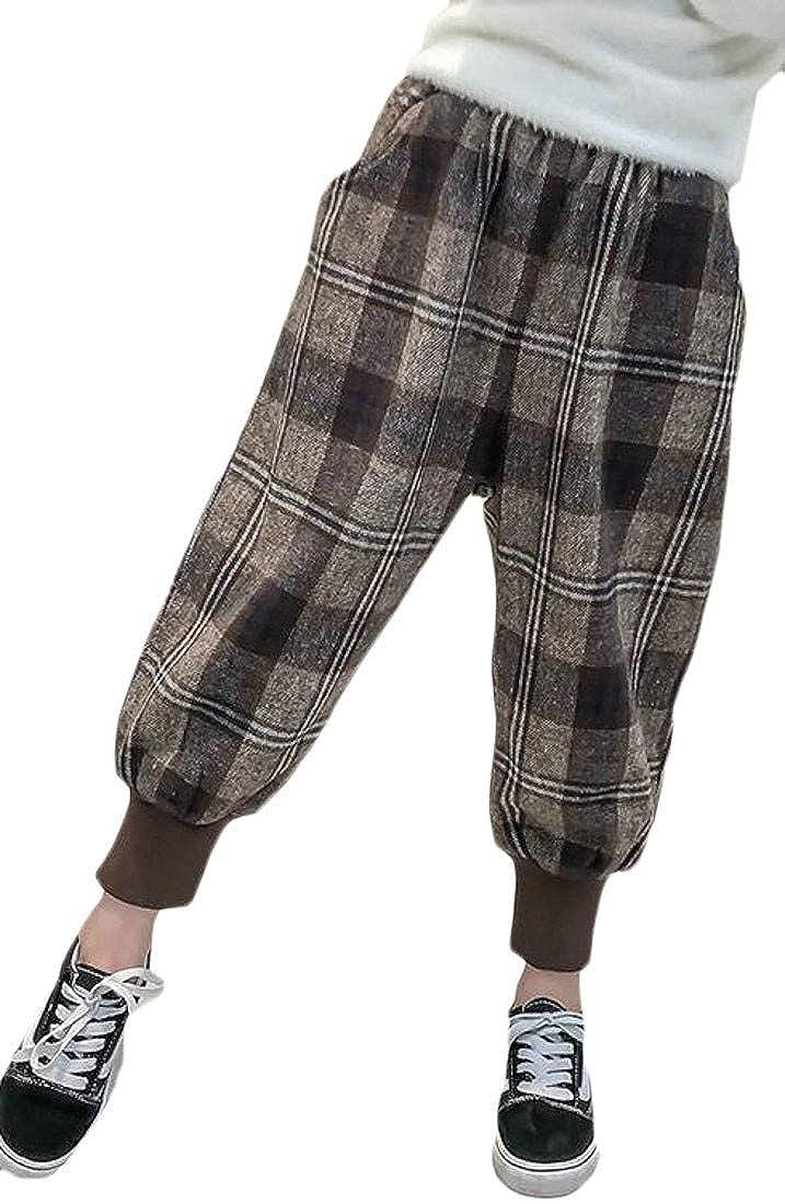 Pandapang Big Girls Harem Winter Elastic Waist Checkered Thick Woolen Pants
