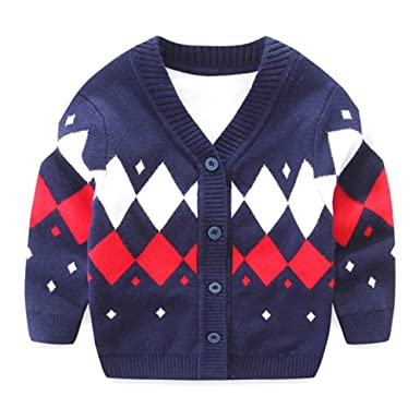 0168c9f19a06 Iridescentlife Baby Boys  Knit Cardigan Button Sweater (Red