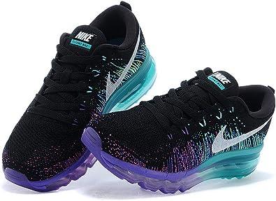 Juramento Falange idiota  Nike Flyknit Air Max 2014 Zapatillas de running para hombre tamaño 10,5 m,  color negro/morado/azul: Amazon.es: Zapatos y complementos