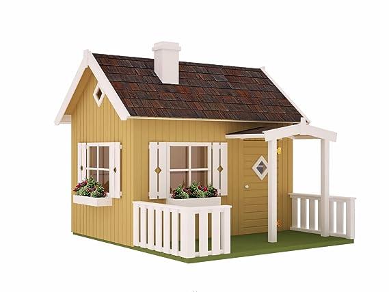 Niños casa de juguete Kalmia K4 con soporte suelo, natural - 16 mm listones hogar, superficie: 3,60 m², tejado: Amazon.es: Bricolaje y herramientas