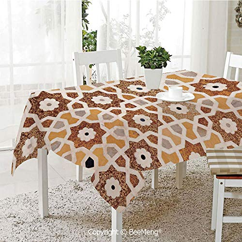 BeeMeng Dining Kitchen Polyester dust-Proof Table Cover,Detail of Inlay and Geometric Carvings Asian Taj Mahal Tomb Architecture Decorative,Cream Orange Brown59 x 59 inches