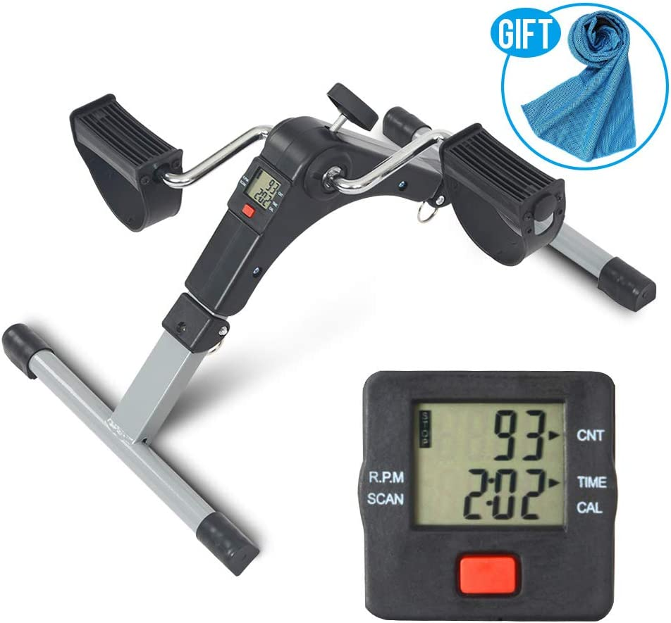 Apelila Foldable Pedal Exercise Machine w LCD Display, Digital Exerciser Mini Bike Stationary Silver- B Towel