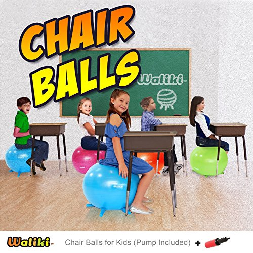 WALIKI TOYS Children's Chair Ball with Feet, Alternative Classroom Seating (Inflatable Balance Ball Chair With Stability Legs for School, Pump Included, 18''/45CM, Orange) by WALIKI (Image #6)