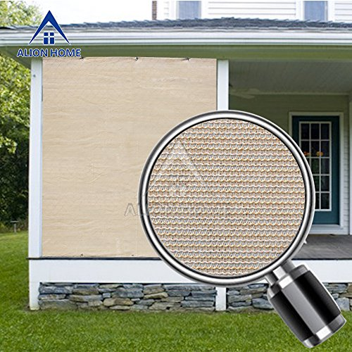 Alion Home Sun Block Privacy Shade Panel with Grommets on 2 Sides for Patio, Awning, Window Cover, Pergola or Gazebo (Banha Beige) (8'x - Al Shades Mobile