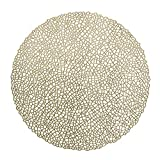 '' OCCASIONS'' 10 PACK Pressed Vinyl Metallic Placemats/Charger / Wedding Accent Centerpiece (10, Mystique, Gold)