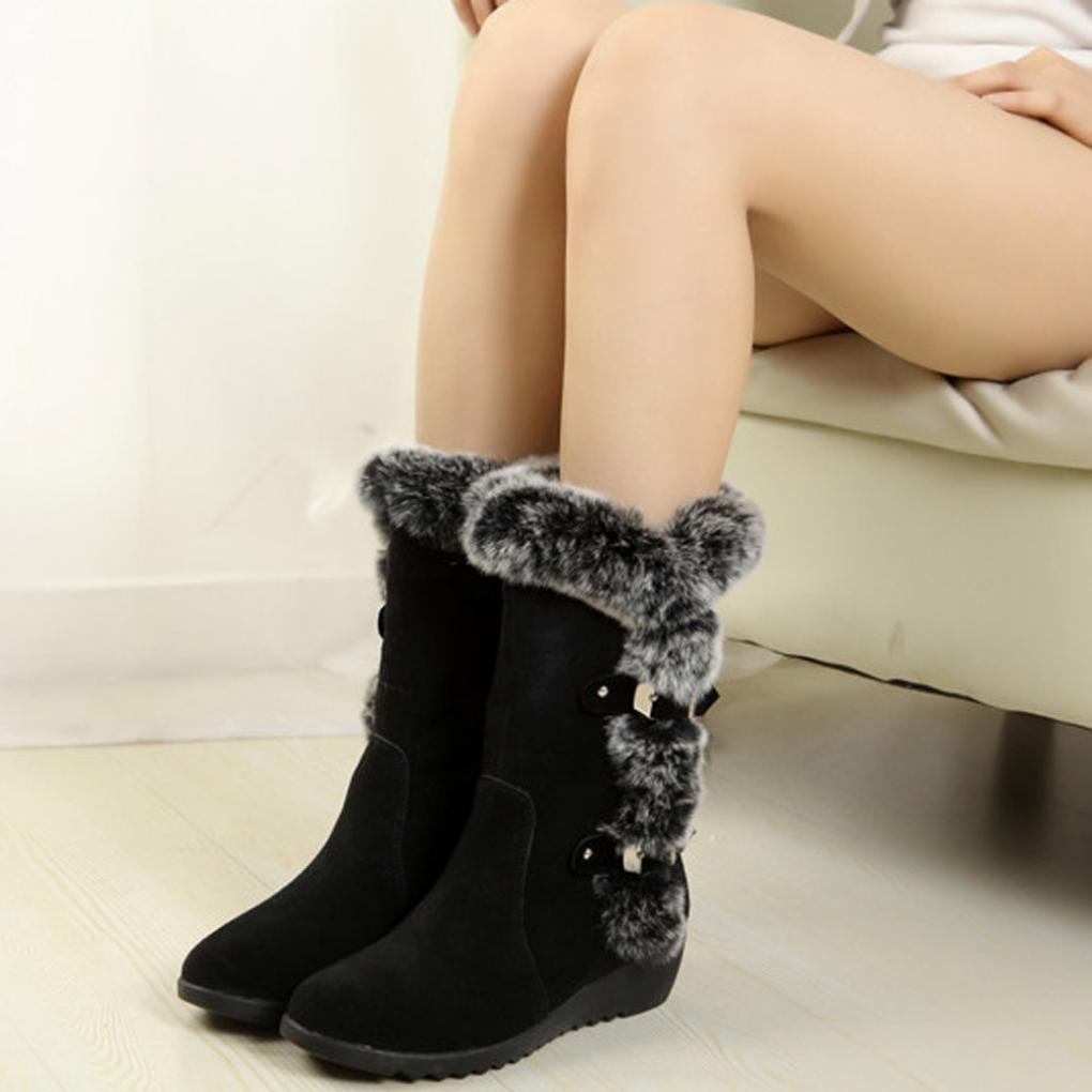 FORH Damen Warm Lang Winterstiefel Casual Flache Schuhe Elegant Faux ... 08ea873ad9