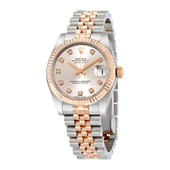 73012bc63bb Image Unavailable. Image not available for. Color: Rolex Lady Datejust  Silver Diamond Dial Steel and 18K Everose Gold Jubilee Watch 178271SDJ