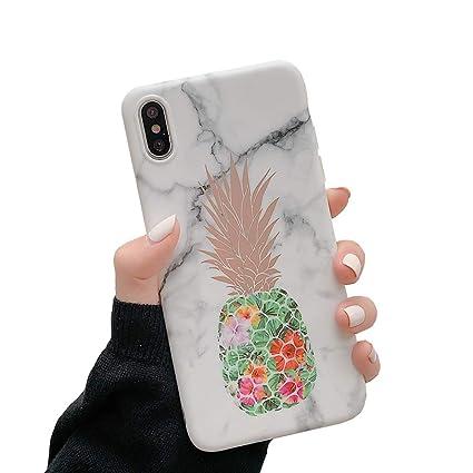 Amazon.com: Carcasa para iPhone Xs Max, de mármol y piña ...