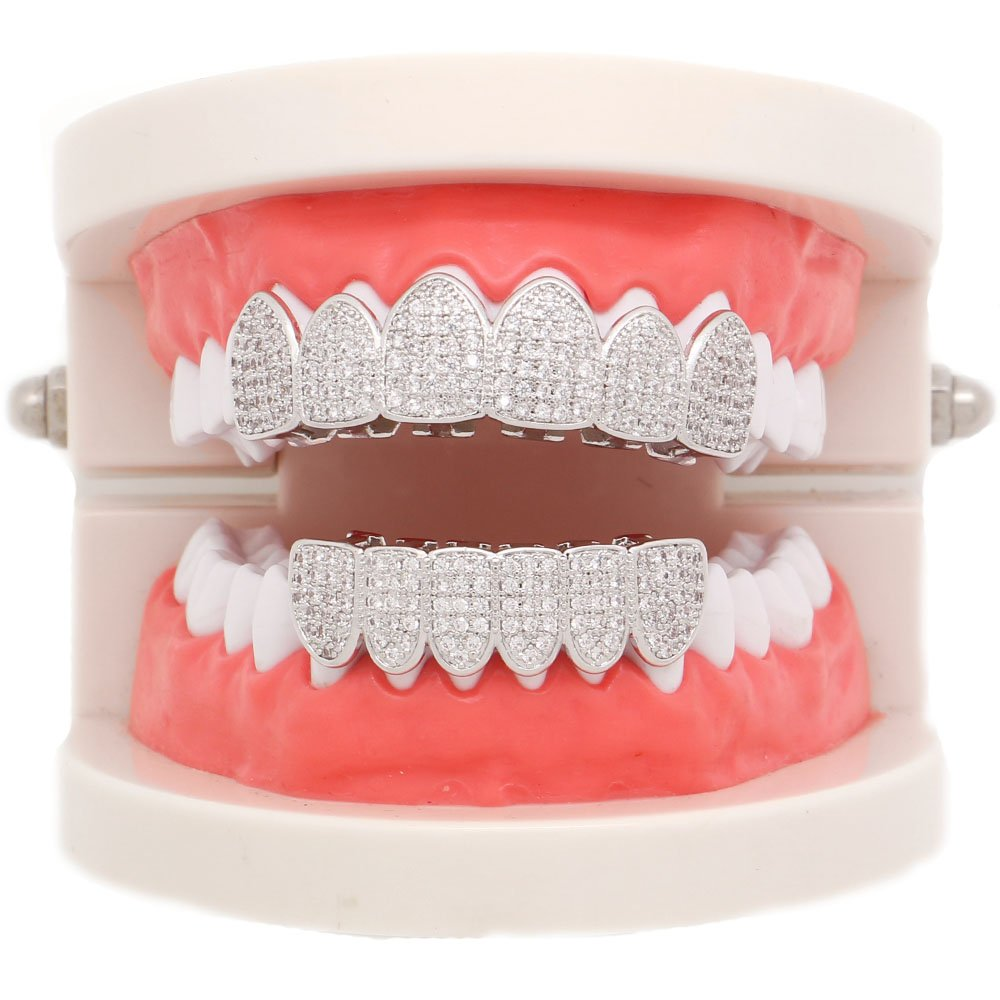 Lureen 14k Gold Silver Pave Full CZ Grillz 6 Top and Bottom Hip Hop Teeth Sets (Silver Set) by Lureen (Image #4)