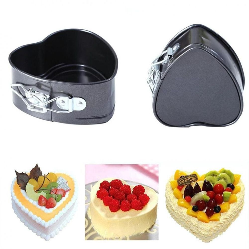 TXIN Love Heart Shape Springform Pan, Mini 4 Inches Non-Stick Carbon Steel Cake Pan Tin Molds Baking Cheese Bread Jelly Tray, Set of 2