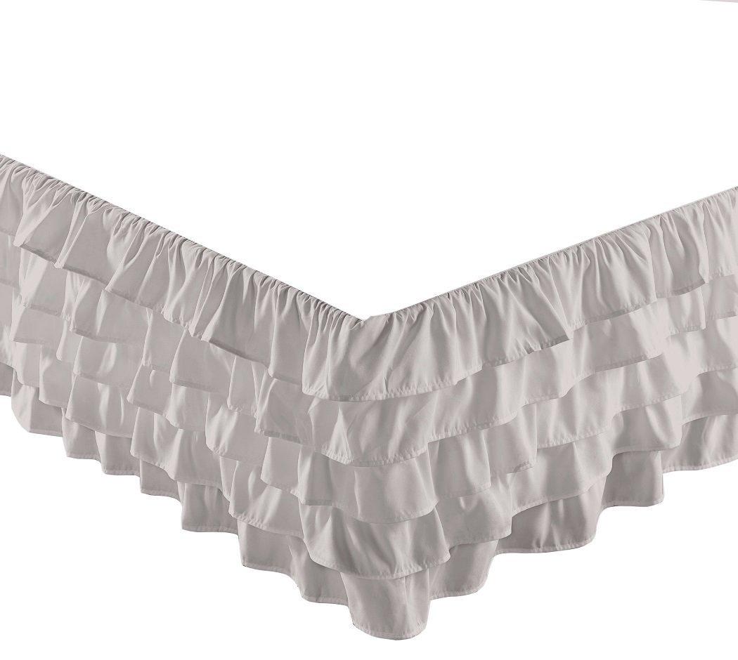 Chezmoi Collection Ella 15'' Drop Multi Ruffle Waterfall Bed Skirt (Twin, Gray)