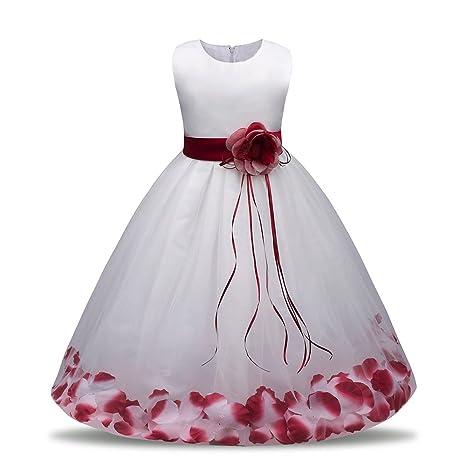 feiXIANG Vestido de niña, Vestido de Princesa Vestido de Lentejuelas Estampado Fiesta de cumpleaños Vestido