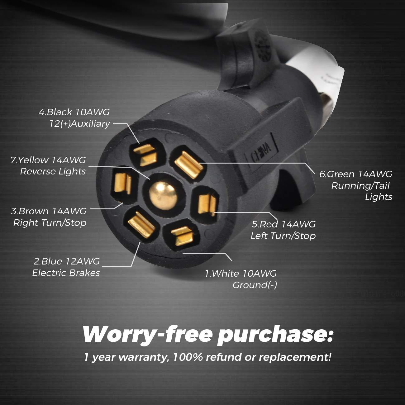 Hqap 29ft Heavy Duty 7 Way Plug Cord Inline Harness Kit 4 Ft Trailer Wiring
