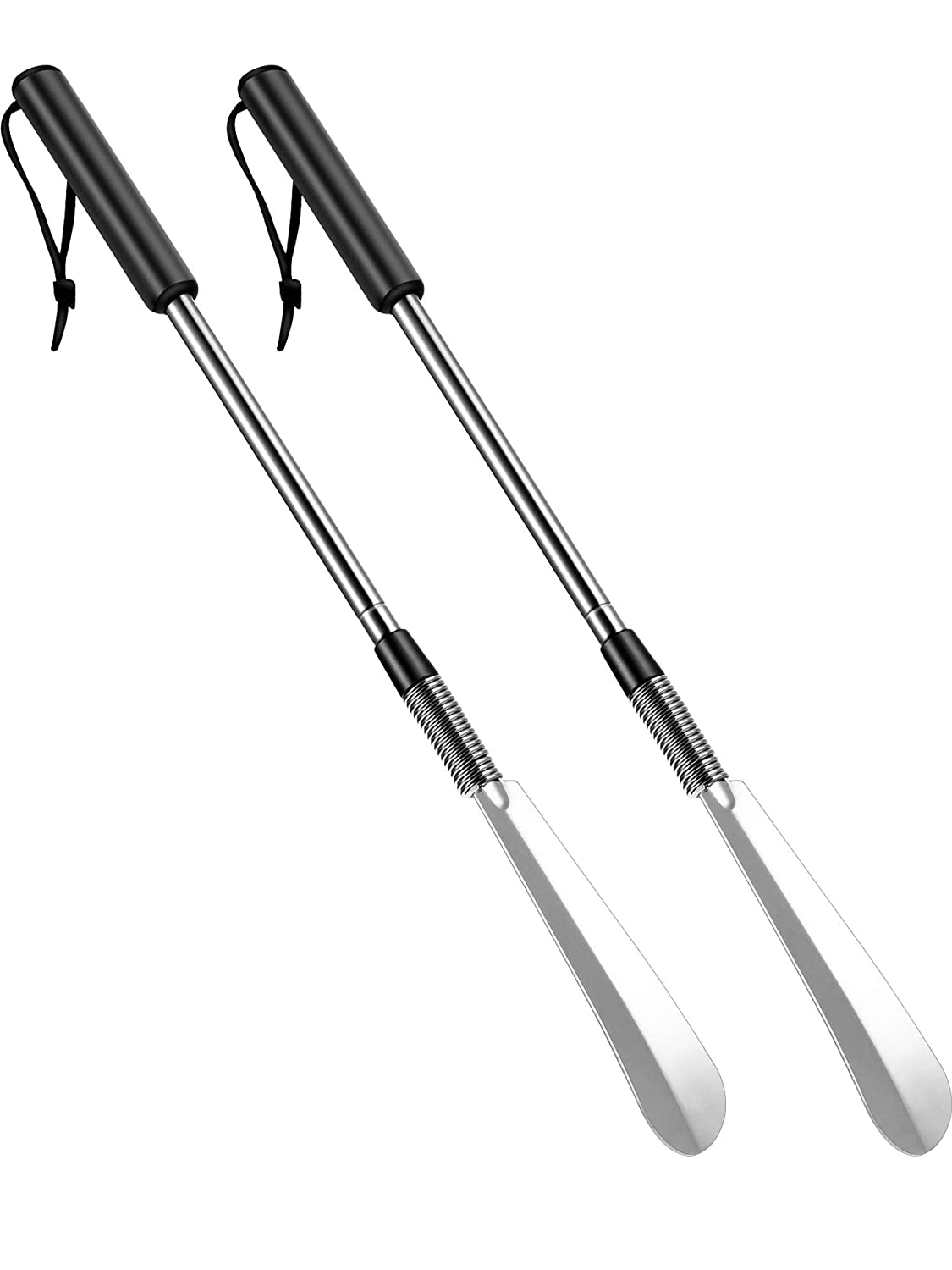 2 Pack Adjustable Shoe Horns Extra Long Handled Telescopic Expander from 16 to 31 Inches Twist to Lock Long Handle Shoe Horn, Stainless Steel