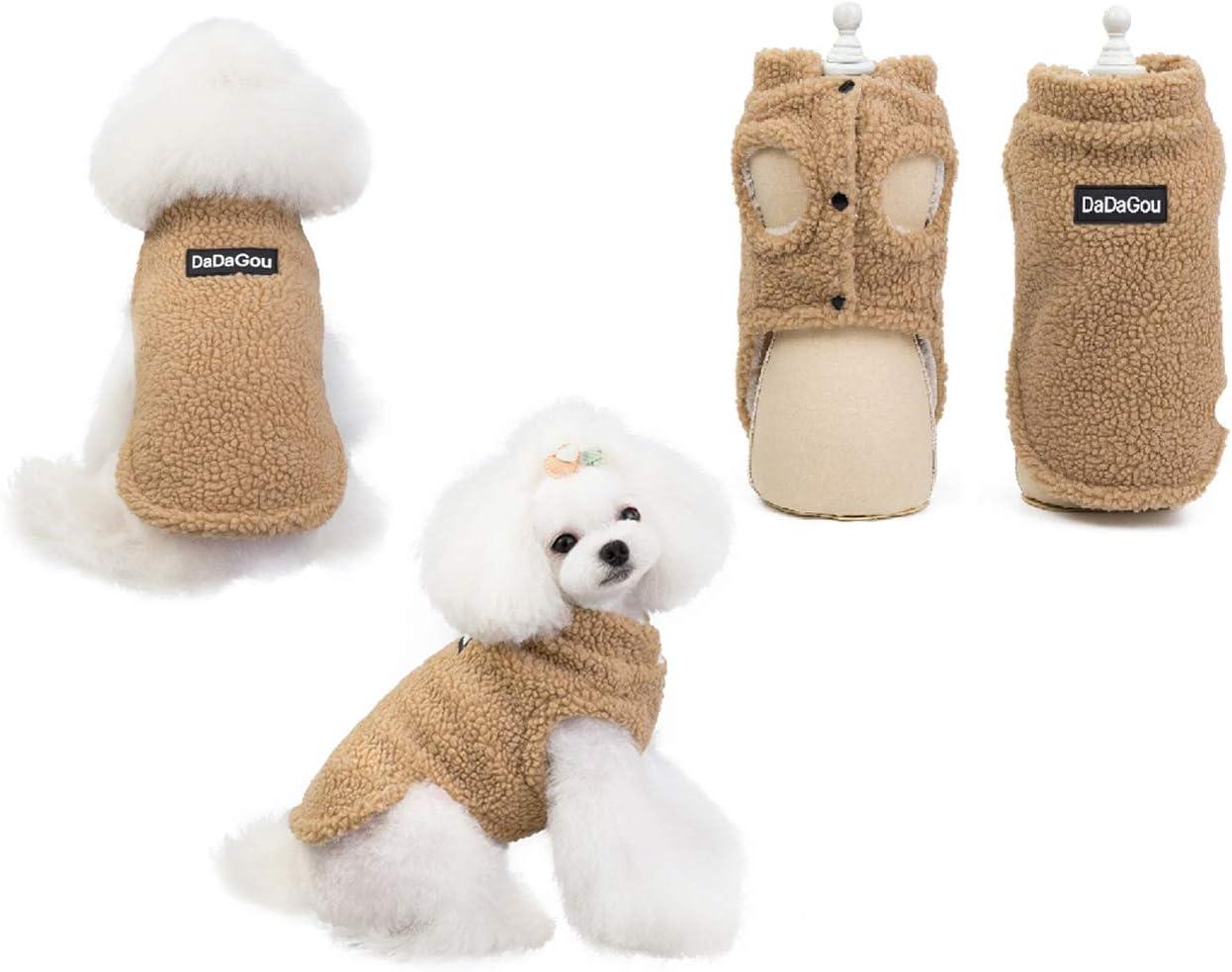 Tineer Pet Doggy Winter Lamb Cachemira Abrigo Warm Outdoor Fleece Dog Fleece Forro Pullover Coat Chaqueta Outwear Chaleco para Perros pequeños y medianos (S, Khaki)
