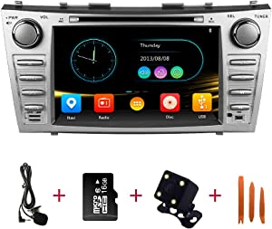 Car Radio in Dash Stereo Navigation for 2007-2011 Toyota Camry Aurion Replacement, Double Din 8 Inch Touchscreen DVD Player Bluetooth with Backup Camera, Microphone,16g Map Card