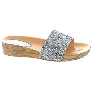 35714acec Womens Ladies Glitter Sparkly Summer / Flip Flop / Sandals / Mules ...