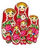 Katerina 10 Piece Red Babushka Russian Fower Stacking Matryoshka Nesting Doll