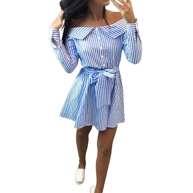 Casual Elegante Vestidos con Hombros Descubiertos Mini Vestido Corto con Fajas Vestido Manga Larga Verano Casual