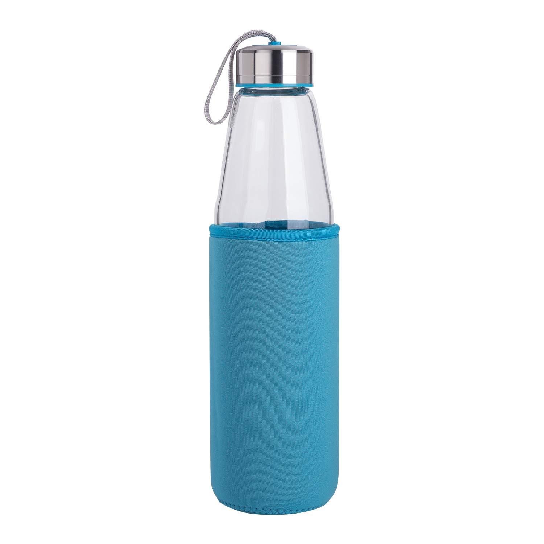 DEARRAY Botella de Agua de Cristal de Borosilicato Deportivo 500ml 1 Litro Botella de Agua de Vidrio con Funda de Neopreno y Elegante Tapa de Acero Inoxidable 1000ml
