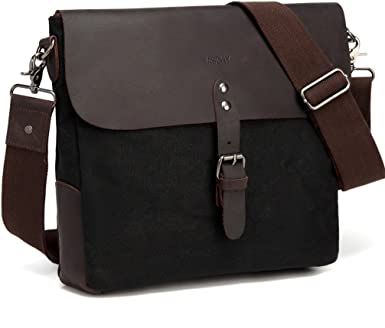Genuine Cowhide Leather Vertical Laptop Messenger Shoulder Bag