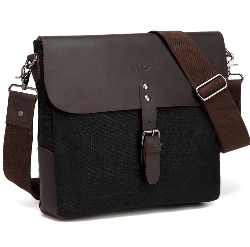 d8507893829b Small Messenger Bag,Vaschy Vertical Vintage Genuine Leather Waxed Canvas  Classic Flap Crossbody Shoulder Bag for Men in Black for Ipad