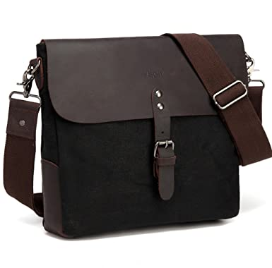 Small Messenger Bag,Vaschy Vintage Genuine Leather Waxed Canvas Mens  Classic Flap Crossbody Shoulder Bag