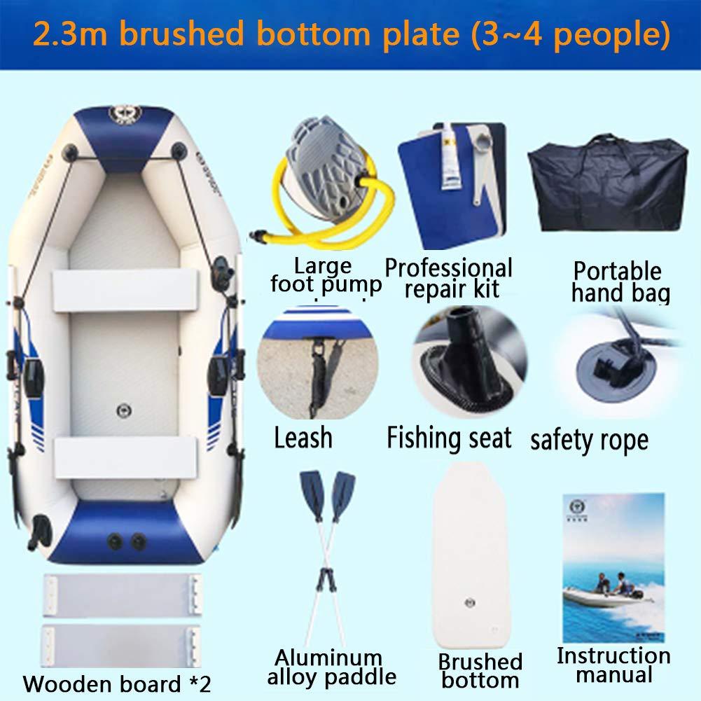 インフレータブルボート、漁船ポータブルホバークラフト、長さ2.3m、パドルを含む、エアポンプ、ボートバッグ、 brushed bottom