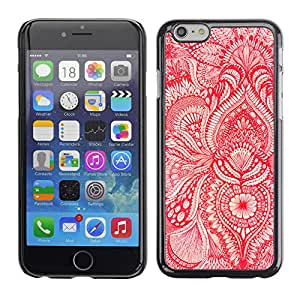 Qstar Arte & diseño plástico duro Fundas Cover Cubre Hard Case Cover para Apple iPhone 6(4.7 inches) ( Wallpaper Red White Floral Blooms Flower)