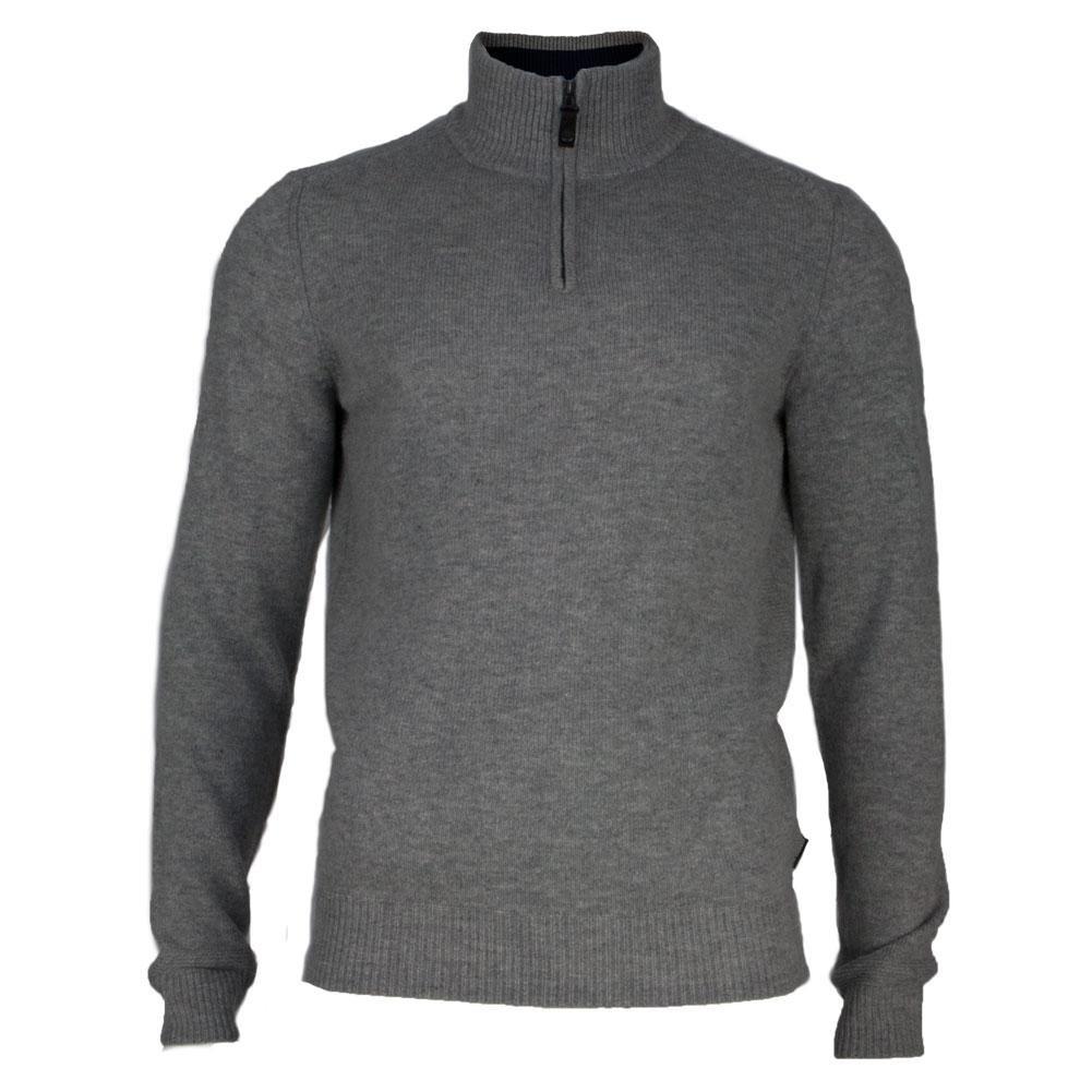 Ben Sherman Men's Half Zip Funnel Neck Sweater, Silver, Large