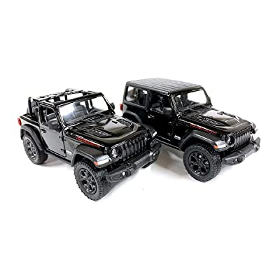 Set of 2 Jeep Wrangler Rubicon 4x4 Hard Top and Convertible Off Road Exploration Diecast Model Toy Cars in Black: Toys & Games